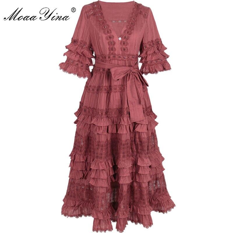 MoaaYina Designer Cotton Dress Summer Women V-neck Half sleeve Cascading Ruffle Lace Embroidery Hollow Out Noble Elegant Dress