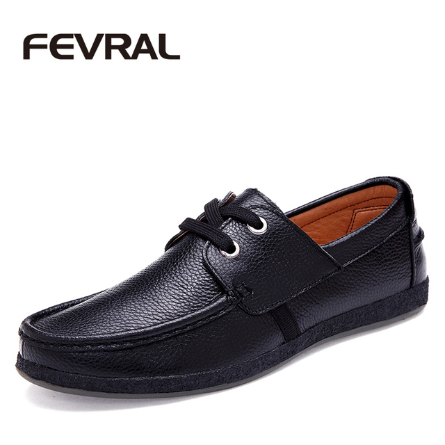 FEVRAL Brand Best Quality Genuine Leather Men Casual Shoes Soft Moccasins Comfortable Office Working Dress Shoes For Men Shoes