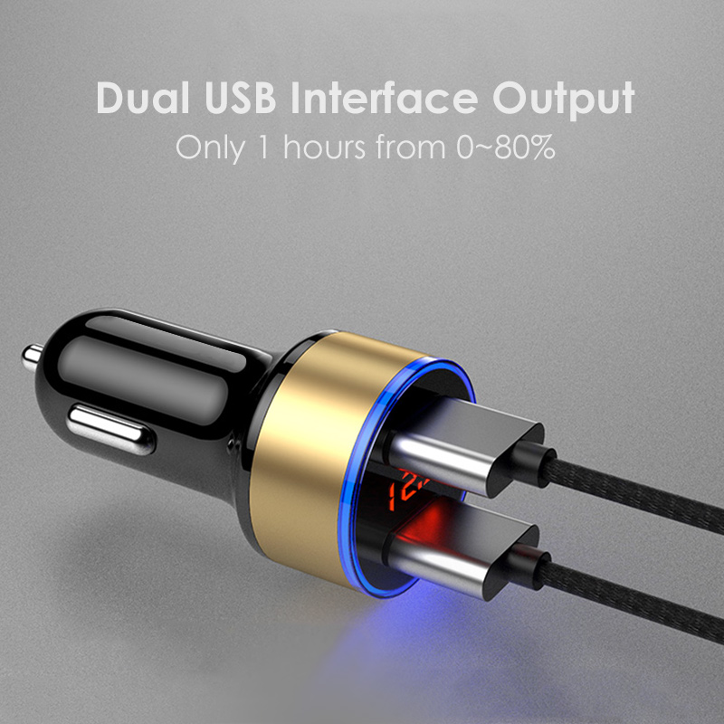 2 Port USB 5V 3.0A Aluminium Alloy Fast Charging Car Charger Digital LED Display For iPhone 6 Xiaomi Car Charger For Samsung