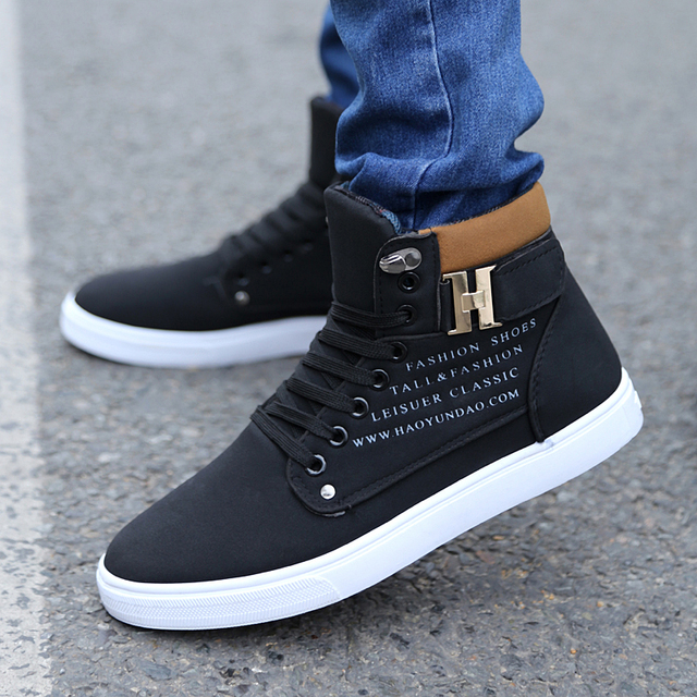 3a3ca70859548 GOXPACER 2018 New Men Shoes Casual Shoes Lace-up Flat Heel Canvas Shoes  Fashion Cotton Men Buckle Thermal Casual High-Top Metal