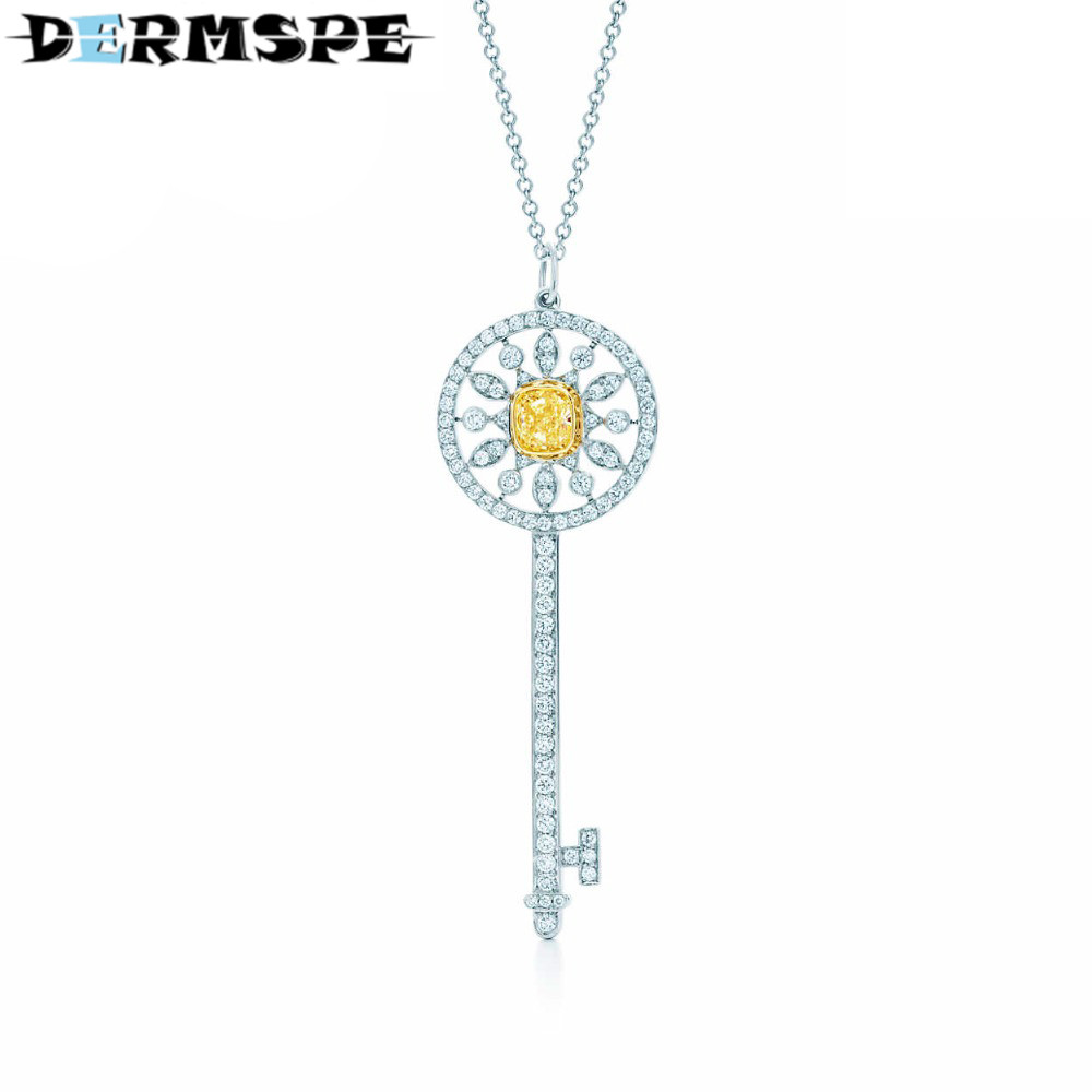 DERMSPE Brilliant Crystal Key Design TIFF 925 Sterling Silver Pendant Necklace sale Hot Fashion Jewelry corean hot sale fashion and retro style rose shape design necklace