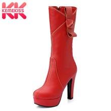 962c8108d5 Tamanho 33-46 KemeKiss Sexy Mulheres Botas De Salto Alto Plataforma Metade Curtas  Botas Bowtie Sapatos de Inverno Morno Mulher d.