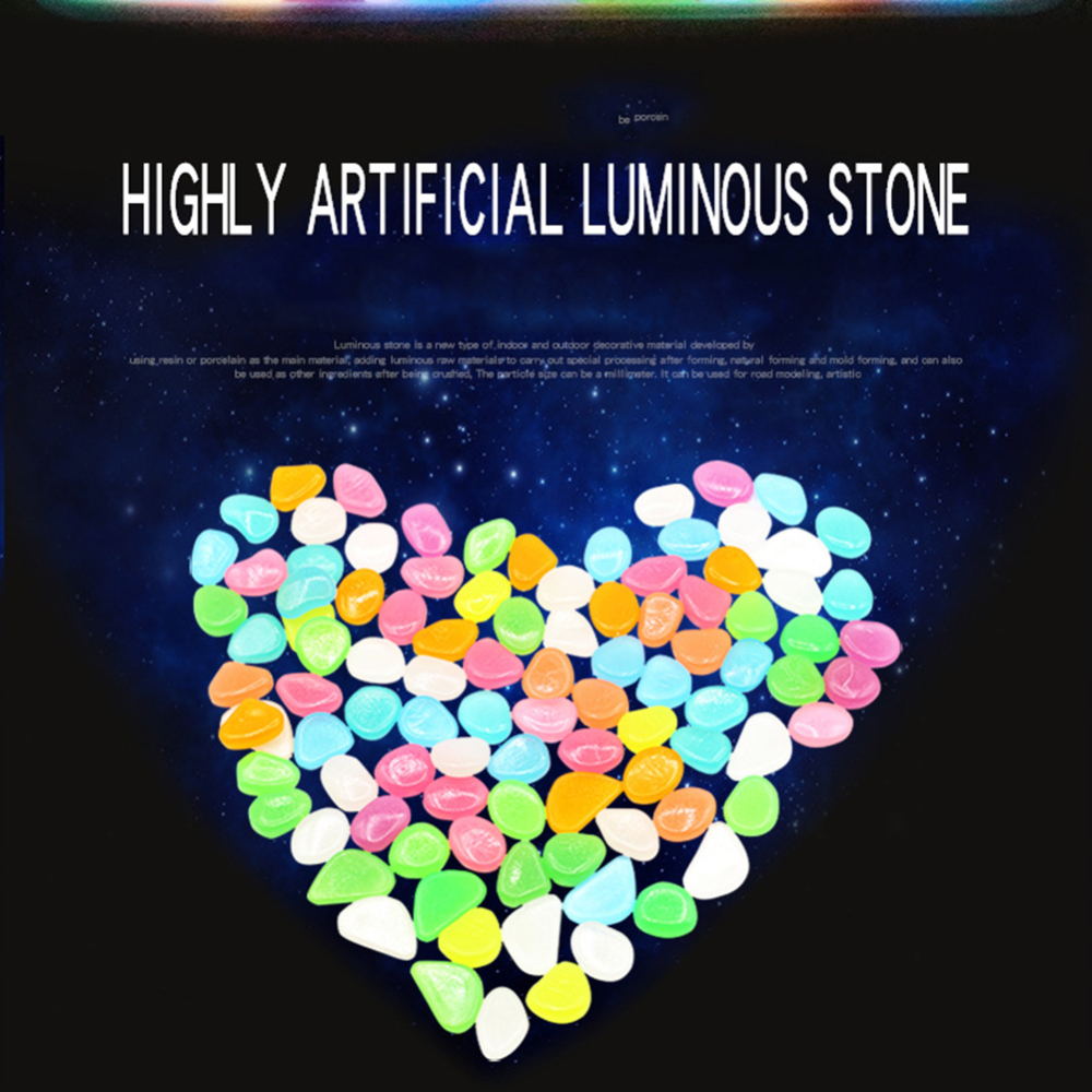 100pcs Home Fish Tank Garden Decoration Luminous Glowing Stone Glow Pebbles DIY Toys