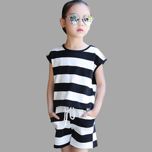 Kids Clothes Sets Teenage Girls Summer Clothing Sets Striped Shirt +Pants Casual Children Sleeveless Suits 6 8 10 12 14 18 Year недорого