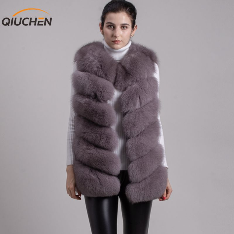 QIUCHEN PJ8049 2018 Hot Sale ægte Fox Fur Vest Autentisk Fashion Perfekt Med High Heels Quality Solid