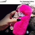Saunorch Brand new  Rex Rabbit Fur Back Cases Furry Plush Diamond Crystal Bling Covers Bag For Samsung Galaxy A3/A5/A7/A8/A9