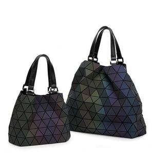 Image 2 - Maelove Luminous bags Women Geometry lattic Sequins Mirror Saser Plain Folding Bags Casual Tote bag Hologram Free Shipping