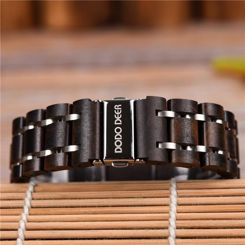 Image 5 - DODO олень из нержавеющей стали деревянные часы для мужчин  календарь часы хронограф кварцевые часы relogio masculino в деревянных  коробках C08Кварцевые часы