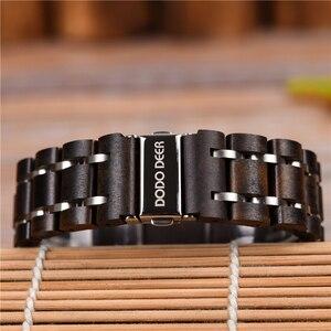 Image 5 - ドードー鹿ステンレススチール木製腕時計メンズカレンダー時計時計レロジオmasculino木製ボックスoem