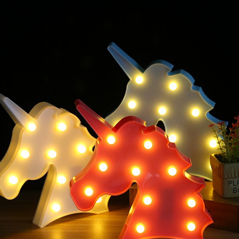 Cute 3D Led Night Light Bedroom Marquee Lamps For DIY Christmas Party Decor Wedding New Year Kids GiftsNew delicore purple light unicorn head led night lights animal marquee lamps on wall for children party bedroom decor gifts s027 p