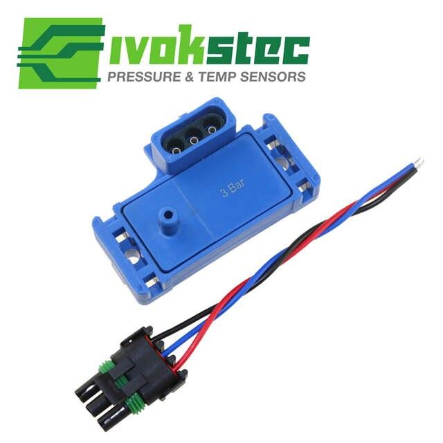 Free Shipping 3Bar 3 Bar Turbo Map Sensor 12223861 Electromotive Motec  Megasquirt With Plug