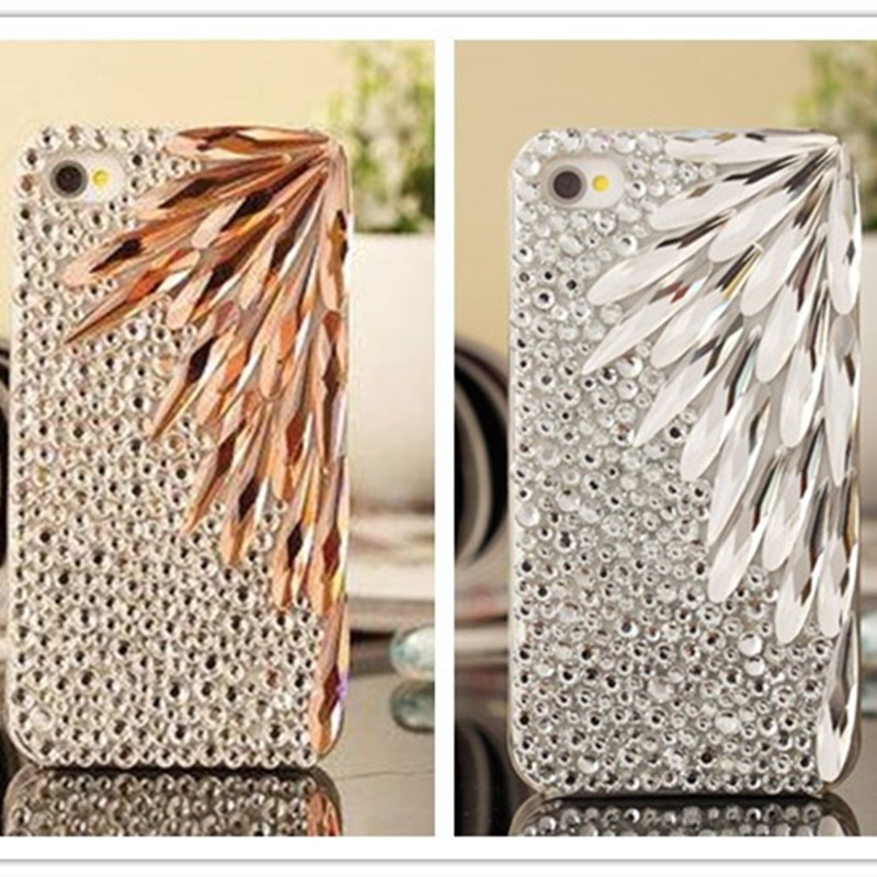 Lyxmode DIY Bling Crystal Feather Rhinestone Diamond Bakväska För Iphone 11 Pro Max XS Max XR X 8 7 6 6S Plus