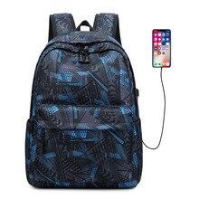 Geometric printing Large Capacity Backpack Man College Male Computer Multifunction Backpacks School Bags For Teenage Boys Girls
