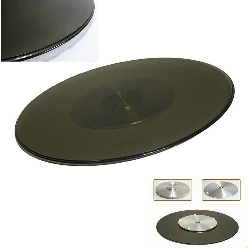HQ TY02 UPGRADE Tempered Tawny Glass Top Lazy Susan Glass Dining Table Turntable Swivel Plate With Alumnium Alloy Base