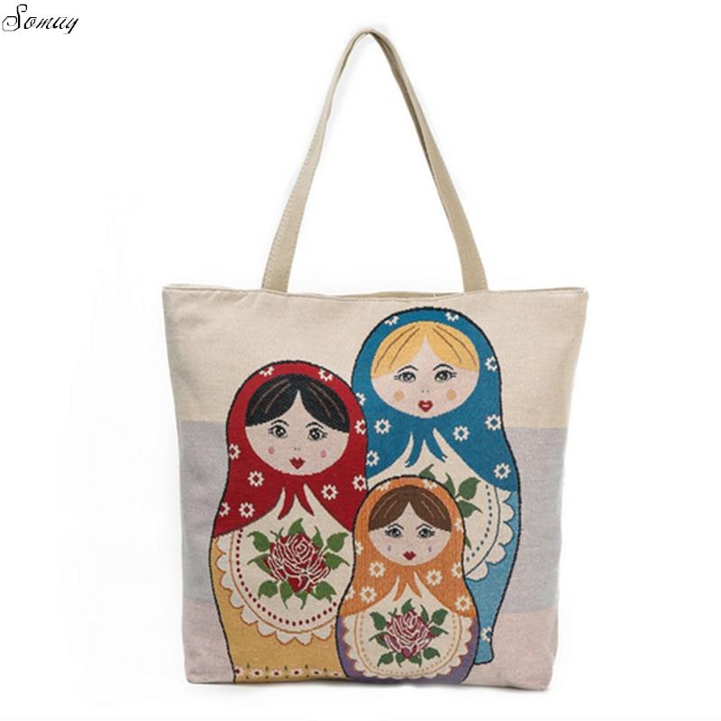 New Matryoshka Doll Printed Canvas Shoulder Bag Female Summer Beach Bag Embroidery Design Ladies Shopping Bag Women drop ship