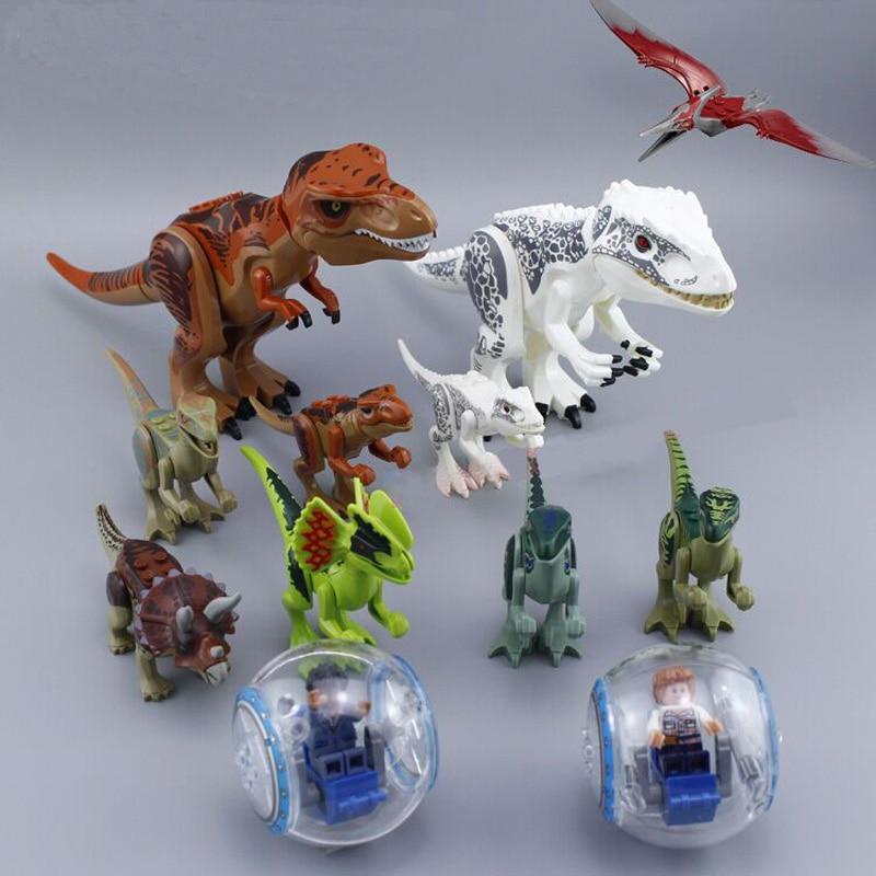 79151 77001 Jurassic World 2 dinosaurio Tyrannosaurus Building Blocks figura de acción Dinosaur ladrillos Legoings dinosaurio juguetes regalo