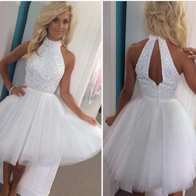 White Elegant Hater Beaded Crystals Short Homecoming Dresses Formal Woman  Gowns Tulle Graduation Dress vestidos de 7df68ffabc97