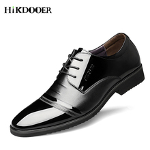 New Arrival Mens Quality Patent Leather Shoes Men Fashion Formal Lace up Size 38-48 Black Soft Male Dress