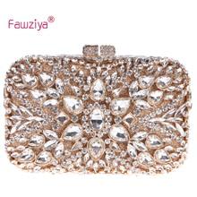 Fawziya Hochzeit Geldbörse Strass Aushöhlen Blume Kristall Verzierten Prom Party Clutch Handtasche