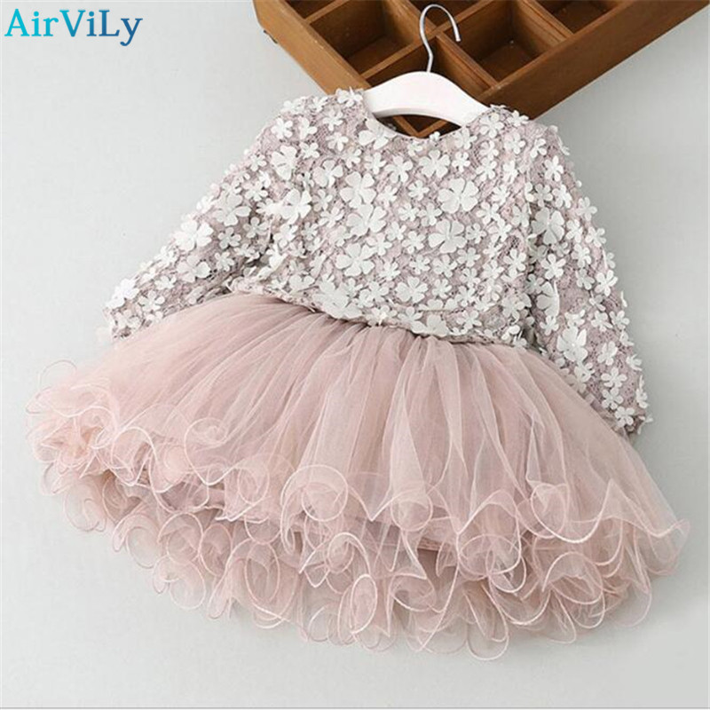 2018 Spring Ball Gown Flowers Appliques Girl Princess Dress Kids Girls Dress For Party Wedding Dress 3-7Y Children Clothes girls ball gown lace flowers girl white dress for prom princess dresses for wedding birthday party kids clothes floral evening