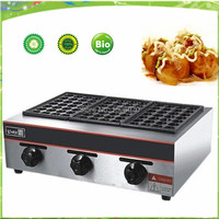 free shipping gas type three pan meat ball forming machine/Japan octopus ball/ GAS takoyaki maker