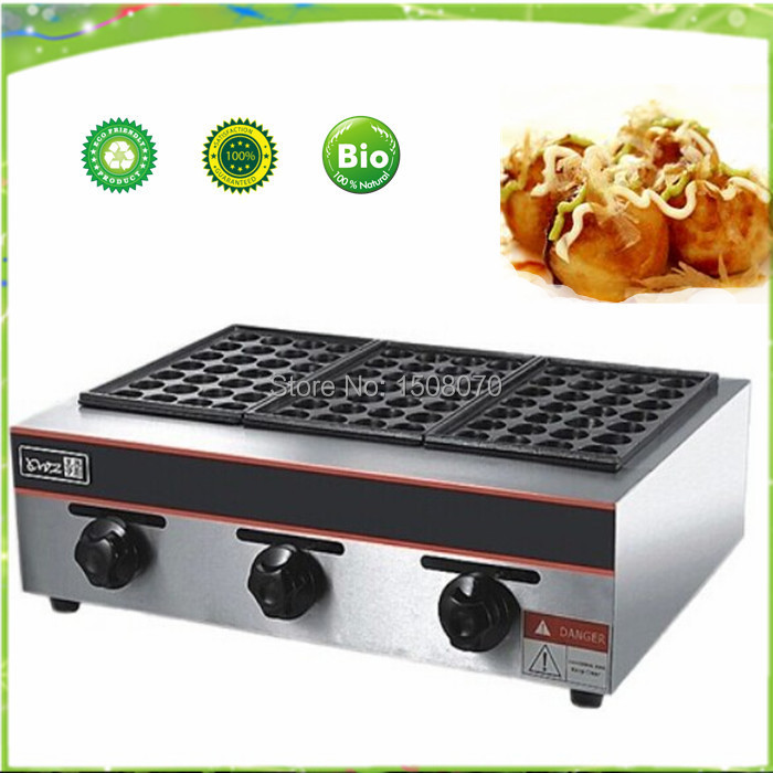 free shipping gas type three pan meat ball forming machine/Japan octopus ball/ GAS takoyaki maker free shipping gas meatball maker three plate takoyaki machine