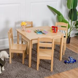 Goplus 어린이 5 조각 테이블 의자 세트 소나무 나무 어린이 놀이 방 가구 자연 새로운 HW55008NA