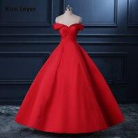 Najowpjg Custom Made Red China Formal Dresses Abendkleider 2019 Beading Satin Ball Gown Evening Dress Vestido De Festa Longo