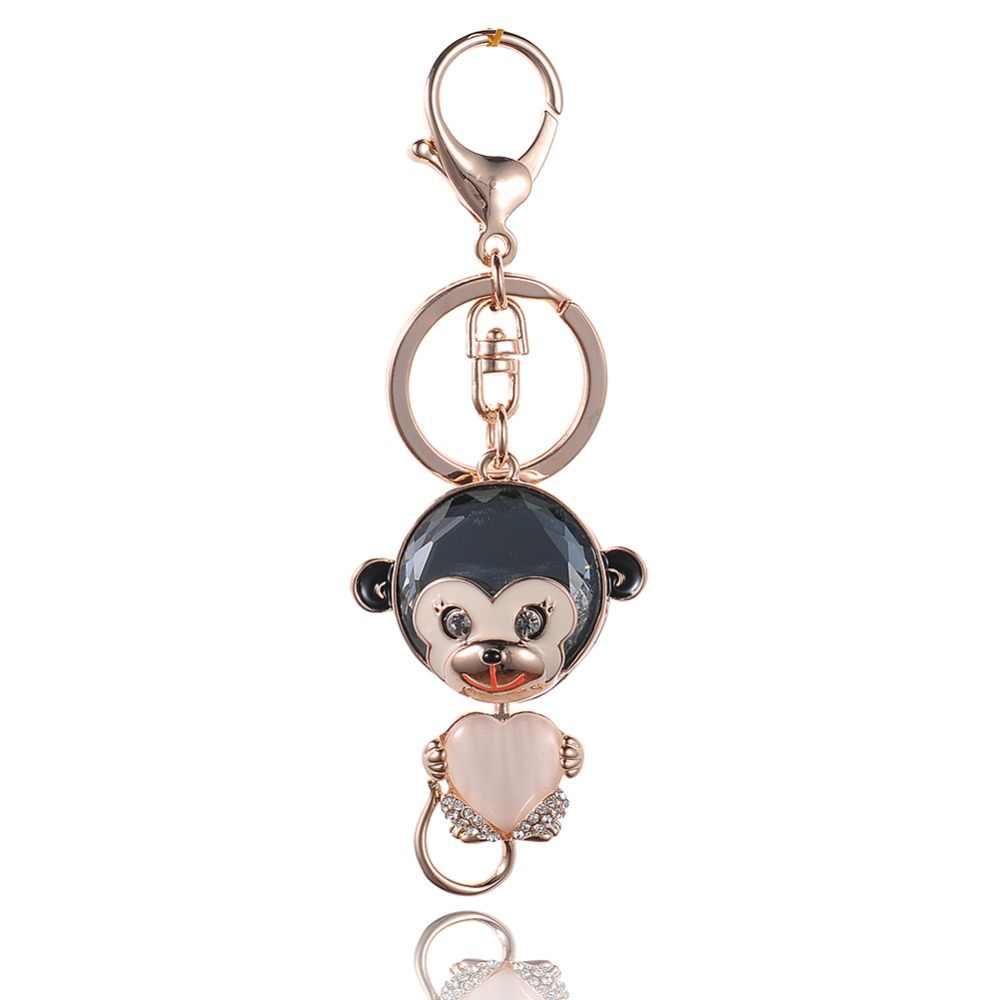 Gota de Óleo Gotejamento Liga de alta Qualidade Chaveiro Chaveiro Esmalte Macaco Bonito Coração de Cristal Opala Ouro Chaveiro-Chave de Aço Inoxidável da cor anel