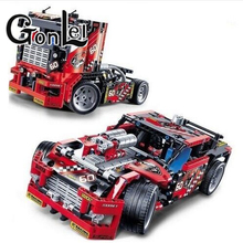 GonLeI 608pcs Race Truck Car 2 In 1 Transformable Model Building Block Sets Decool 3360 DIY Toys Compatible With Technic 42041