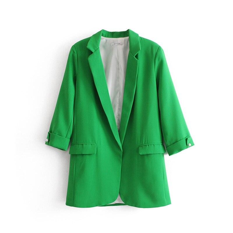 Women Large Size Six color Optional Casual Small Suit Lapel Double Side Pockets Buttonless Cardigan Solid Color Seven-point Suit