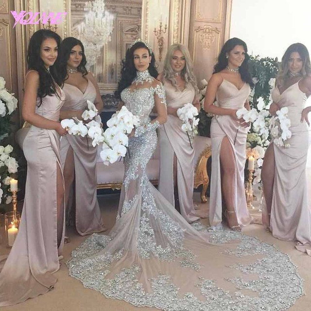YQLNNE 2018 Luxury Gray Lace Mermaid Wedding Dress Bridal Gown High Neck Sweep Train Vestido De Noiva-in Wedding Dresses from Weddings & Events on ...
