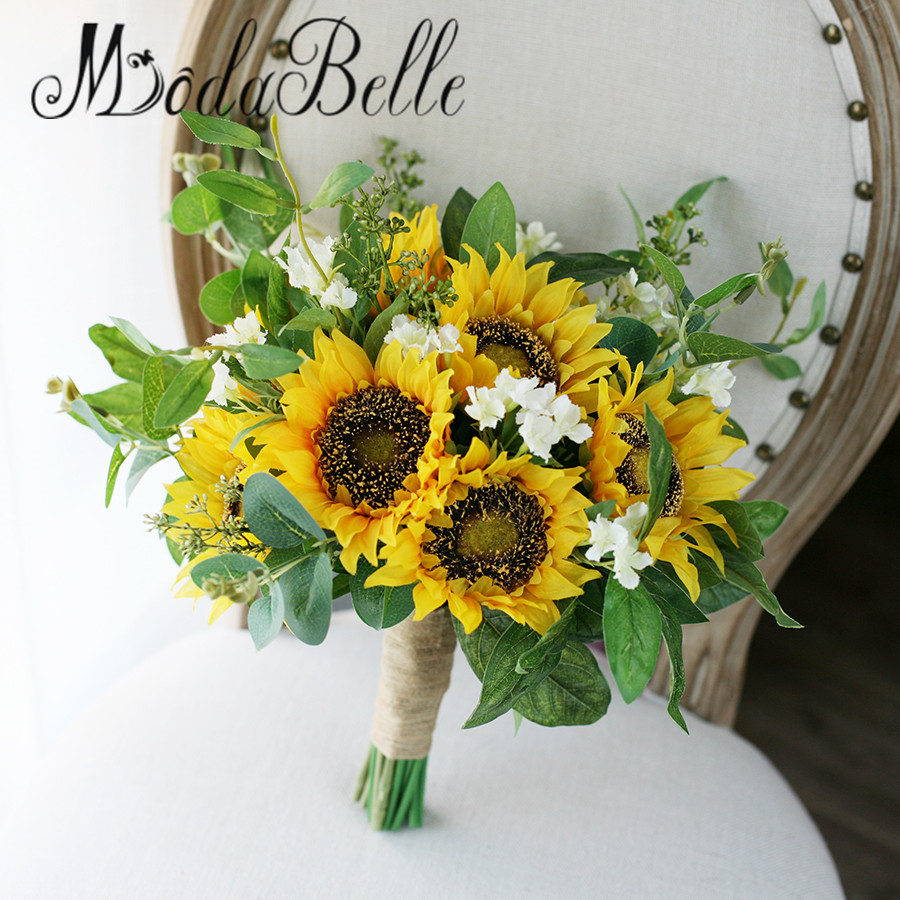 Ideas For Wedding Flowers: Modabelle Sunflower Yellow Green Real Touch Bridal
