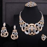 GODKI Super Luxury Geometric Lines Women Bridal Cubic Zirconia Ring Bangle Necklace Earring Dubai Jewelry Set Jewellery Addict