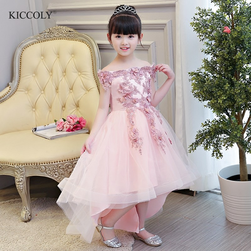 все цены на Glizt Pink Lace Bead Tulle first communion dresses for girls Luxury Ball Gown Organza Flower Girl Dress for Weddings онлайн