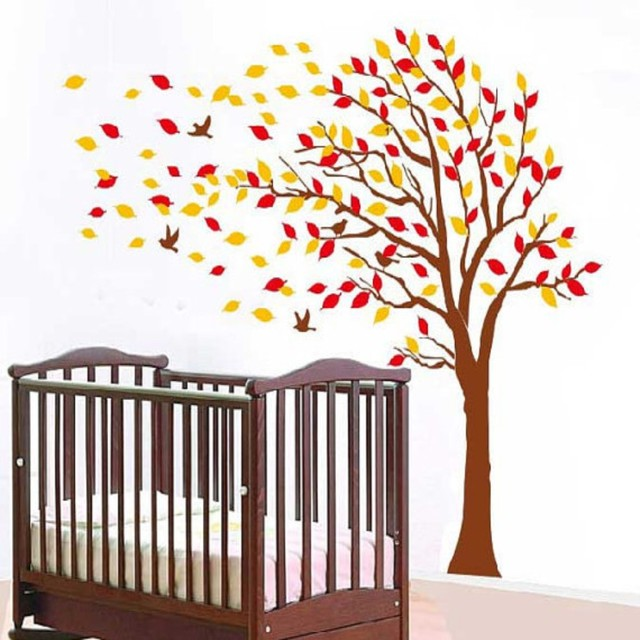 Autumn Tree Falling Leaves And Flying Birds Vinyl Wall Decals Kids Room Decor Hanging Red Orange
