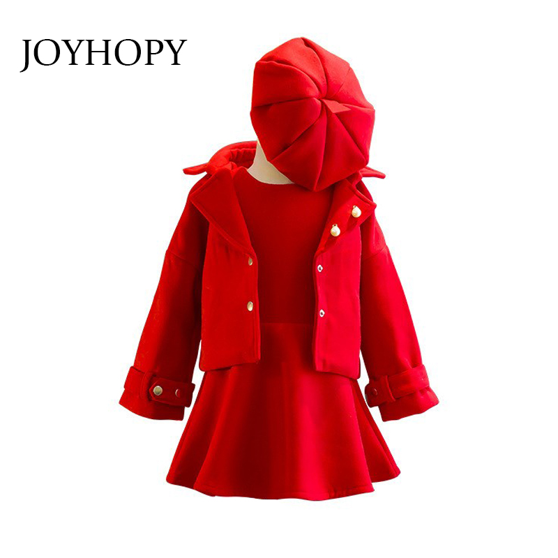 hat 3pieces set dress Children/'s spring and winter style girls wool coat