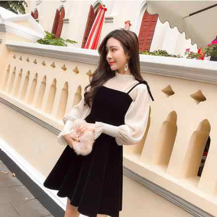 女性ドレス秋 2019 ヴィンテージベルベット長袖シアーメッシュトップスリムウエストプリーツドレス黒赤レトロツーピースドレス LJ208