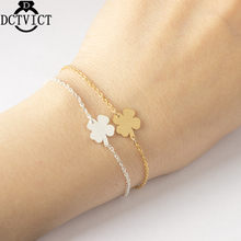 GORGEOUS TALE Lucky Four Leaf Clover Bracelet Mother Birthday Gift Pulseras Mujer Moda 2017 Gold Silver Bracelets Women Jewelry(China)
