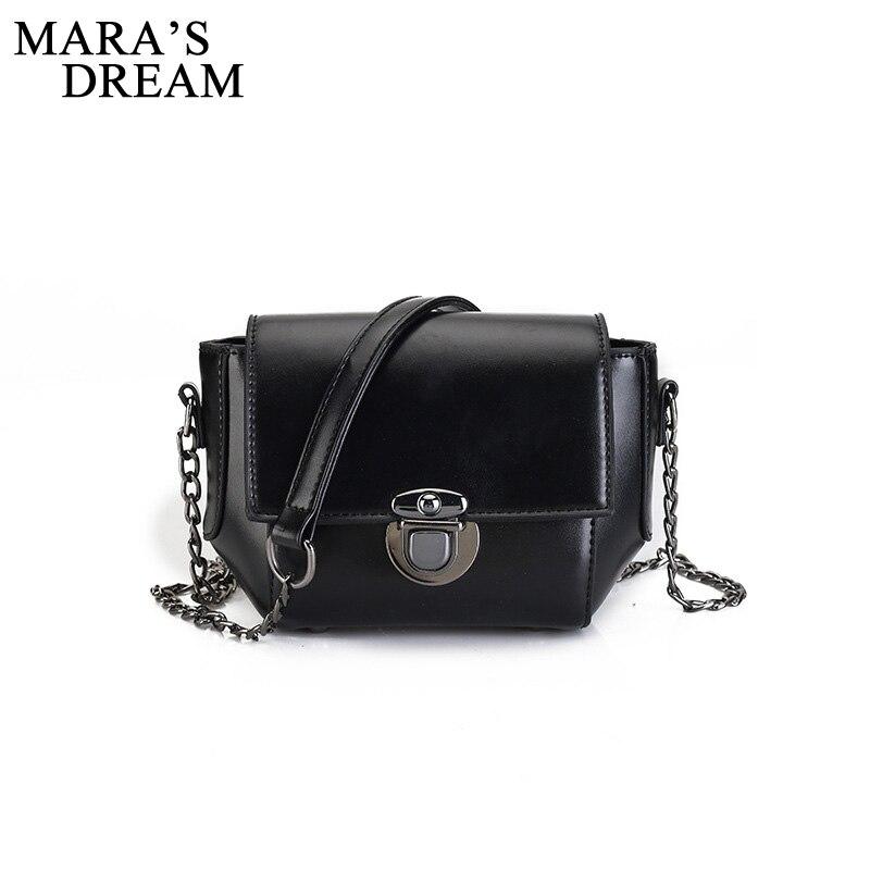 Maras Dream 2018 Women Shoulder Bag Chain Strap PU Leather Solid Color Metal Buckle Small Messenger Bags Handbags Clutch Bag