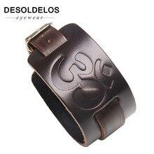 Cowboy Bracelet Black brown Strap Wide Wrap Leather Bracelet Buckle Wristband Men Cuff Bracelets Punk Jewelry For Women.