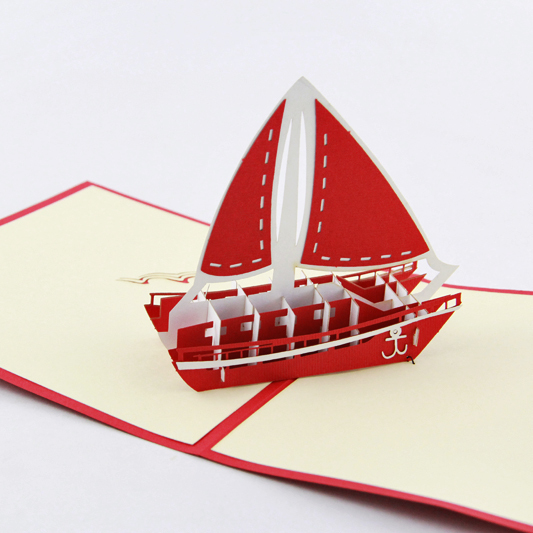 Kid Sailboat Yacht  /3D pop up greeting card/ handmade boy cards  Free shipping free shipping voyager 2 4g mini rc sailboat sailing electric ship model yacht handmade boat toys children gift