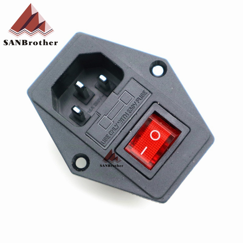 1PCS 3D printer parts 250V 3 in 1 Fuse Power switch AC power outlet For Makerbot-Ultimaker 2-RepRap