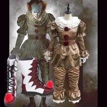 Косплэй DIY Стивена Кинга это Pennywise Косплэй костюм с Ботинки страшно джокер костюм взрослых Маскарад партии реквизит L0516