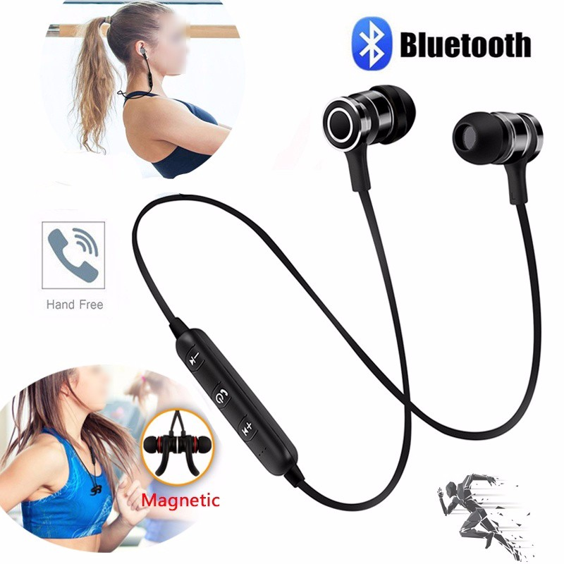 Bluetooth Earphone Headset Wireless Earphones SweatProof Magnetic Sport Stereo Earpiece Fone De Ouvido For Xiaomi Mobile black handmade beaded details crew neck sleeveless high waisted dress