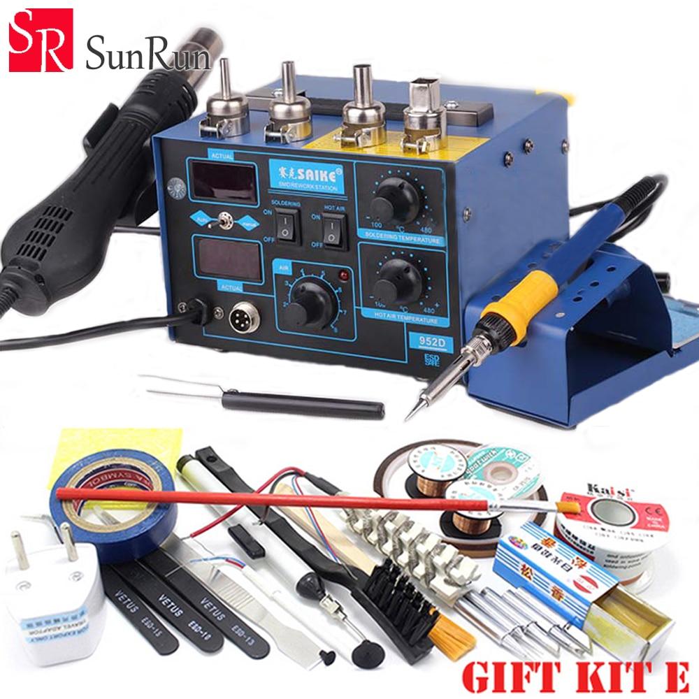 Best selling Gift saike 952D 2 in 1 Hot air gun Soldering Iron rework Soldering station 220V /110V better than hakko 936