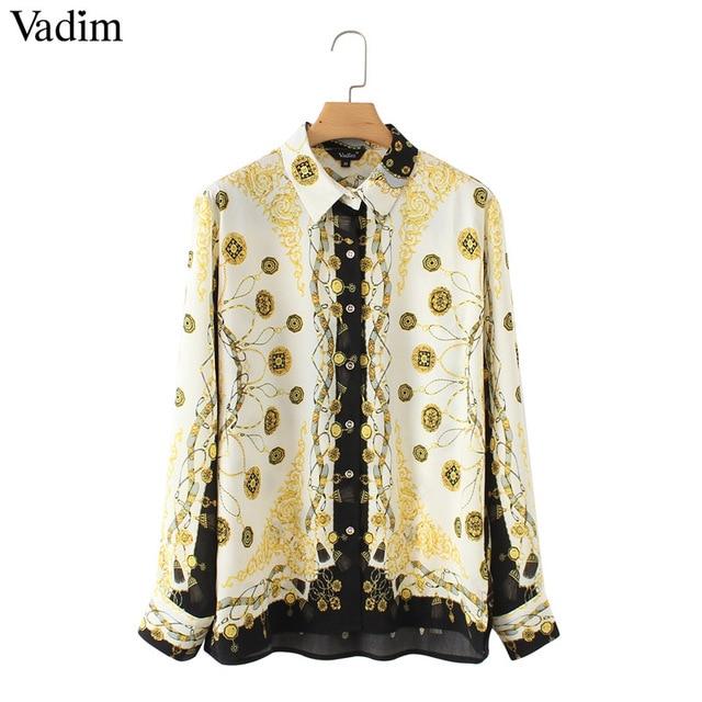 Vadim femmes élégant chaînes imprimer lâche blouses à manches longues tournent vers le bas chemises plissées dames casual chic tops blusas LA318