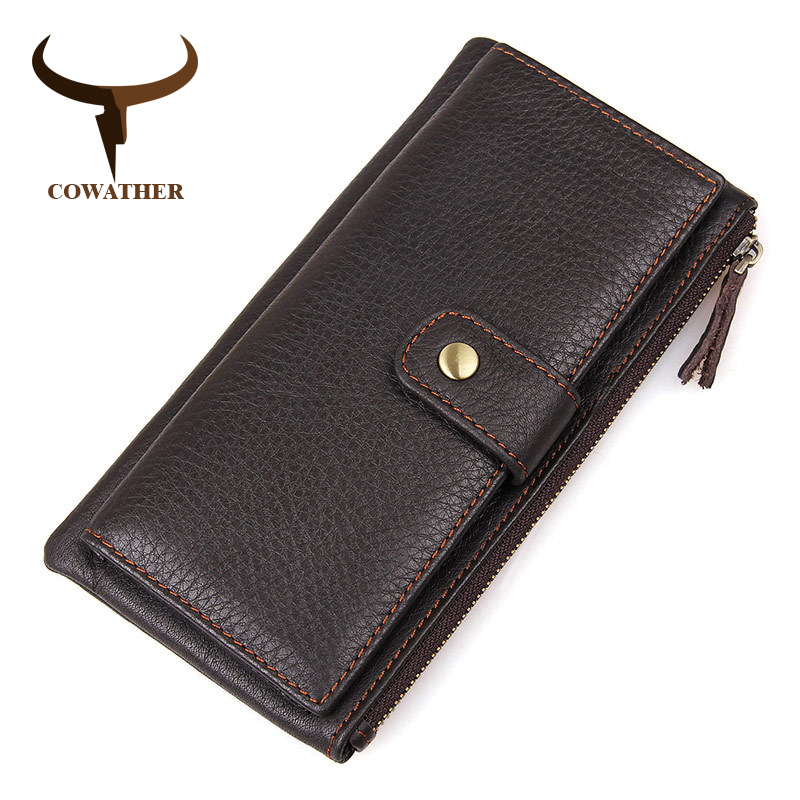 COWATHER New First Layer Of Real Leather Men's Oil Wax Retro High-Capacity Multi-Card Bit Long Wallet Clutch Men Genuine high quality 2017 new style layer of import oil wax cowhide medium paragraph buckle leather wallet men s purse