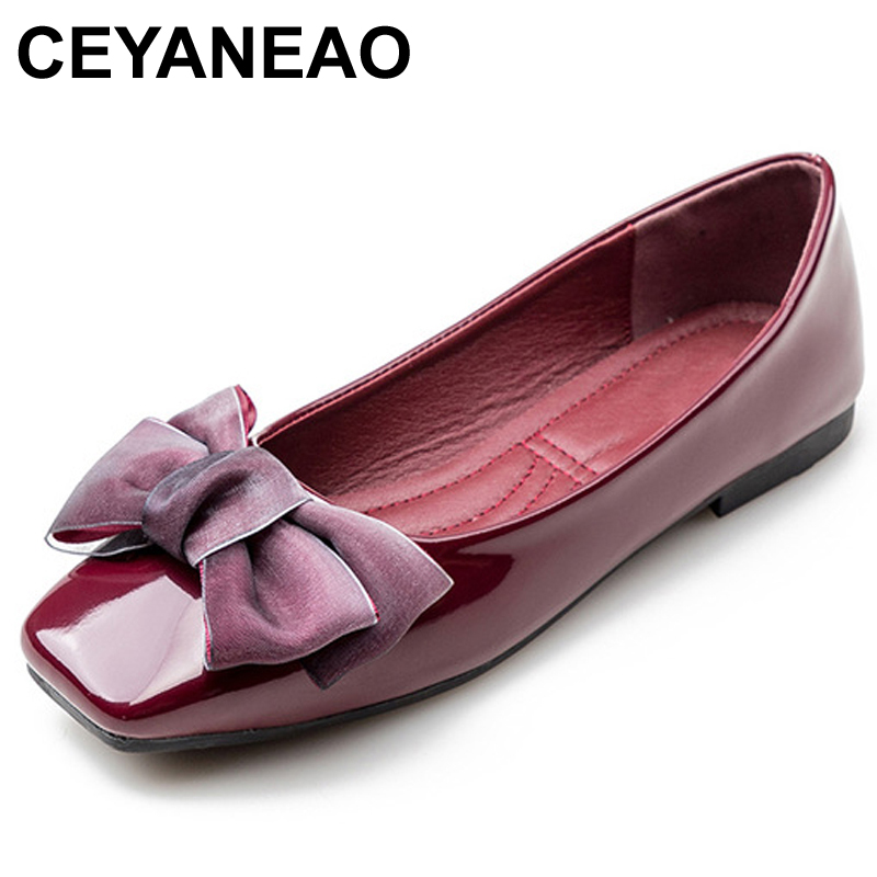 CEYANEAO2018 Spring New Fashion Luxury Women Soft Flat Butterfly Knot Ballet Flats Large Size Low Heels Designer ShoesE1129(China)