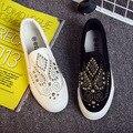Hot heavy-fundo de ouro cravejado de lona sapatas das mulheres Coreano talão tecido respirável um pedal de sapatos de lazer preguiçosos sapatos flats